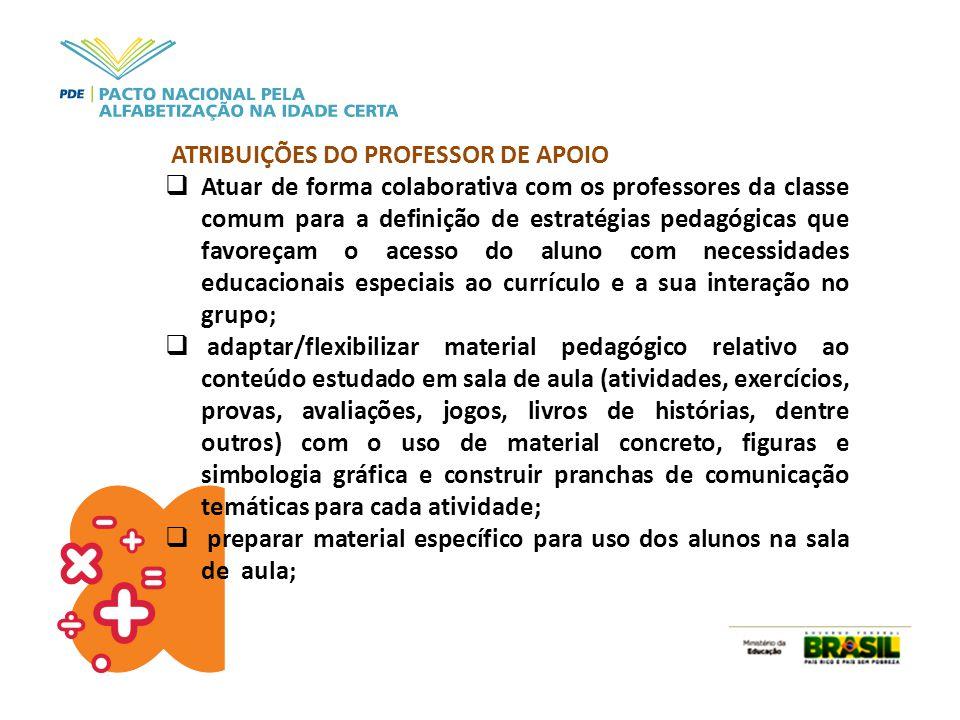 ATRIBUIÇÕES DO PROFESSOR DE APOIO