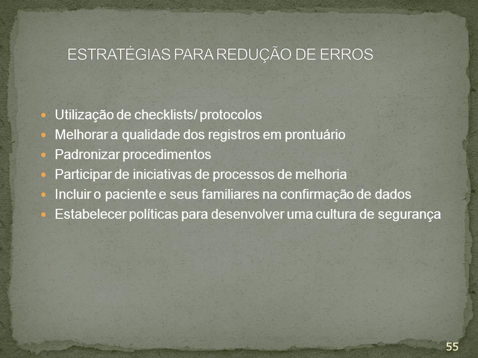 ESTRATÉGIAS PARA REDUÇÃO DE ERROS
