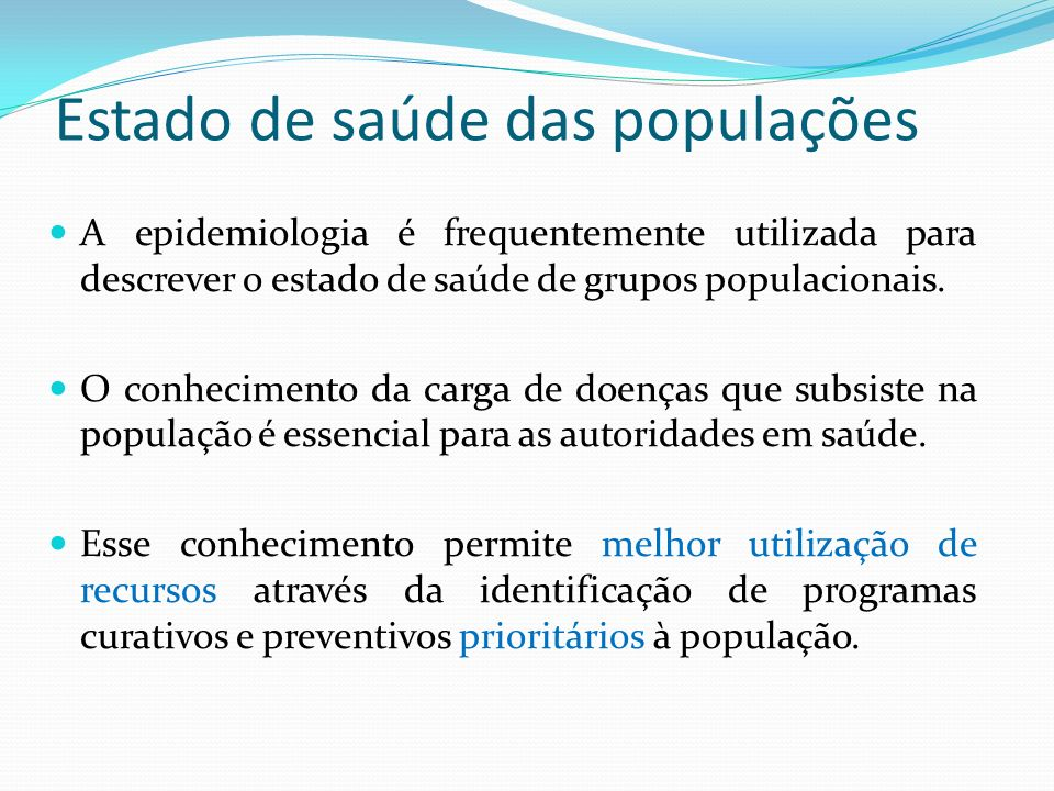 Estado de saúde das populações