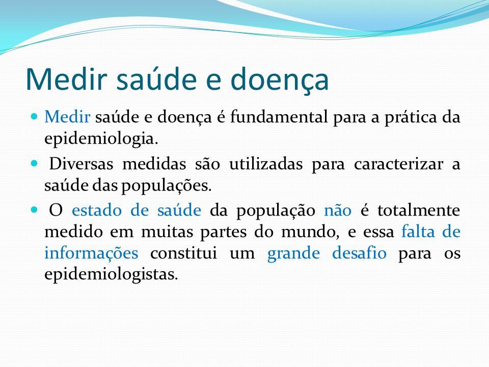 Medir saúde e doença Medir saúde e doença é fundamental para a prática da epidemiologia.