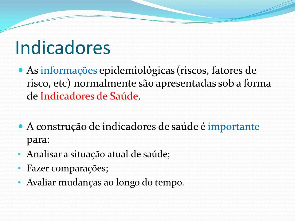 Indicadores As informações epidemiológicas (riscos, fatores de risco, etc) normalmente são apresentadas sob a forma de Indicadores de Saúde.