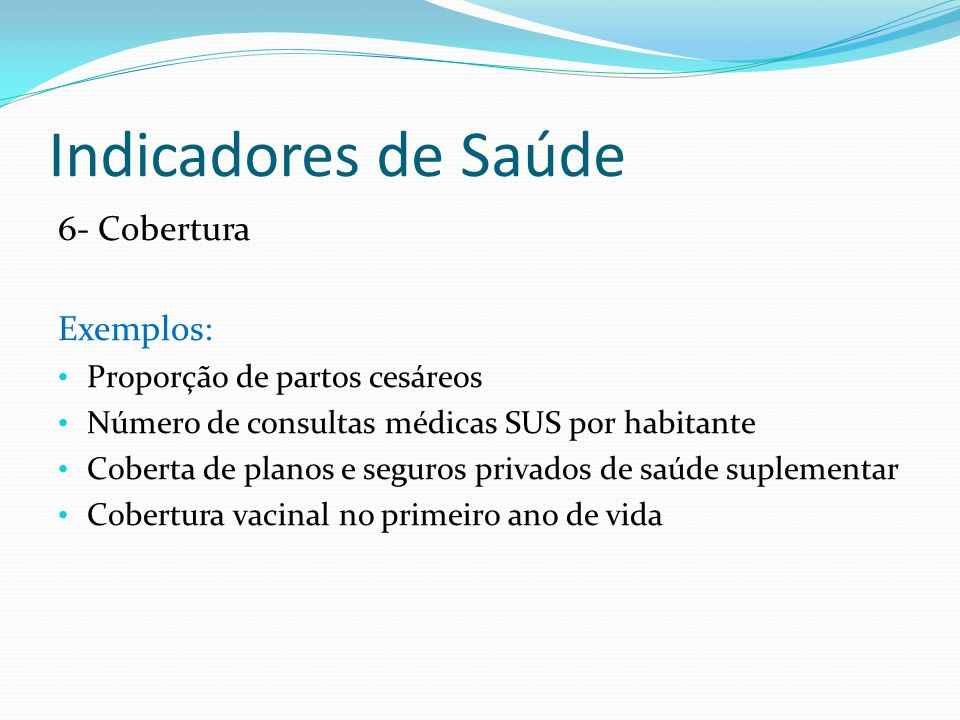 Indicadores de Saúde 6- Cobertura Exemplos: