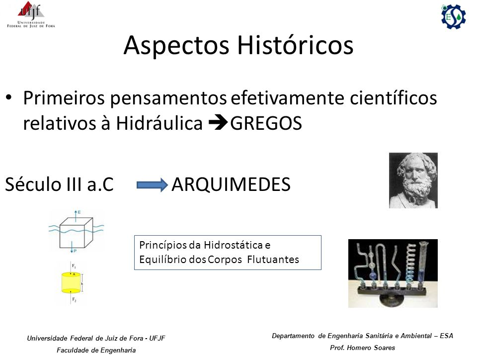 Aspectos Históricos Primeiros pensamentos efetivamente científicos relativos à Hidráulica GREGOS. Século III a.C ARQUIMEDES.