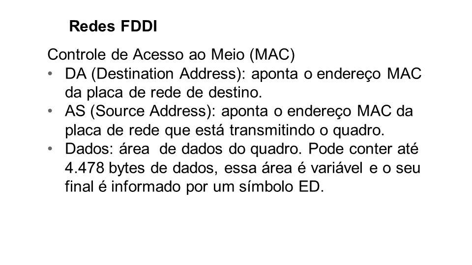 Redes FDDI Controle de Acesso ao Meio (MAC) DA (Destination Address): aponta o endereço MAC da placa de rede de destino.