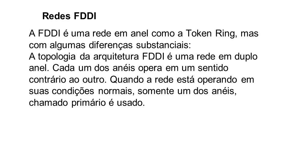 Redes FDDI A FDDI é uma rede em anel como a Token Ring, mas com algumas diferenças substanciais: