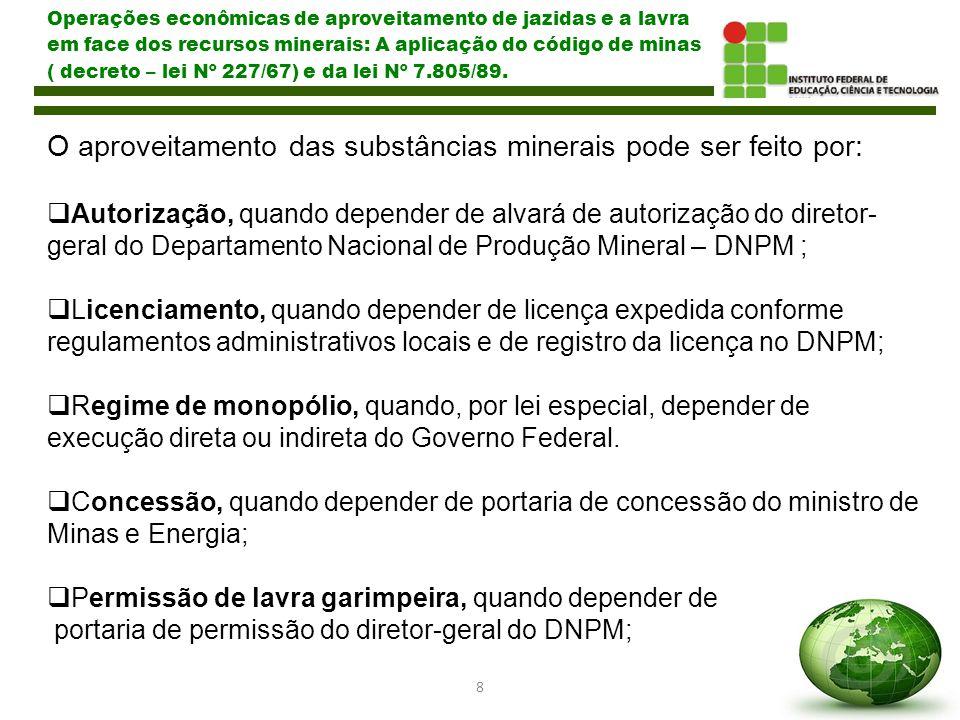 O aproveitamento das substâncias minerais pode ser feito por:
