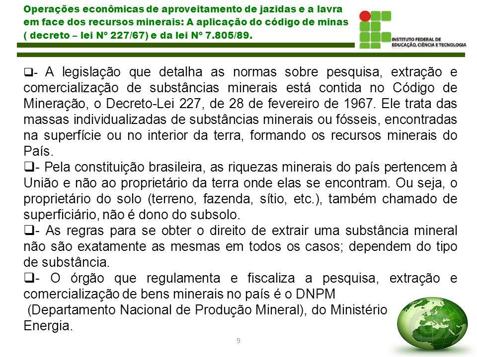 Operações econômicas de aproveitamento de jazidas e a lavra em face dos recursos minerais: A aplicação do código de minas ( decreto – lei Nº 227/67) e da lei Nº 7.805/89.