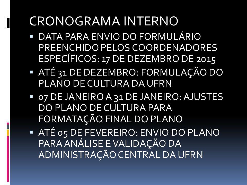 CRONOGRAMA INTERNO DATA PARA ENVIO DO FORMULÁRIO PREENCHIDO PELOS COORDENADORES ESPECÍFICOS: 17 DE DEZEMBRO DE 2015.