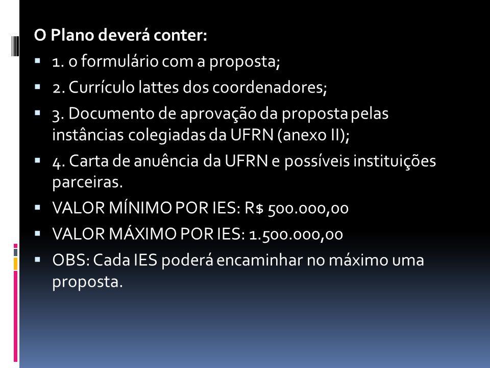 O Plano deverá conter: 1. o formulário com a proposta; 2. Currículo lattes dos coordenadores;