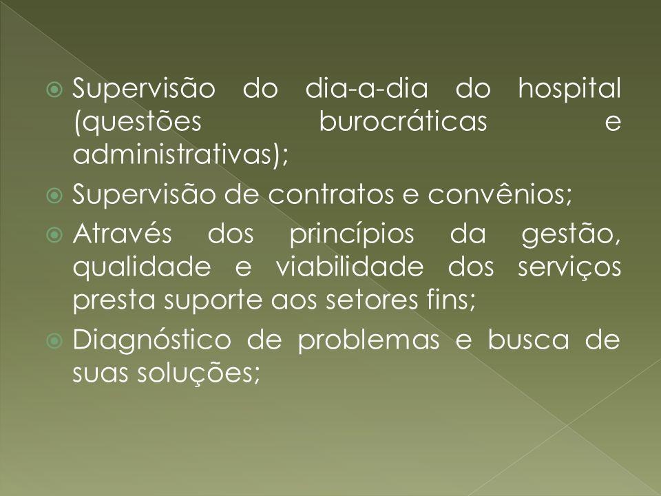 Supervisão do dia-a-dia do hospital (questões burocráticas e administrativas);
