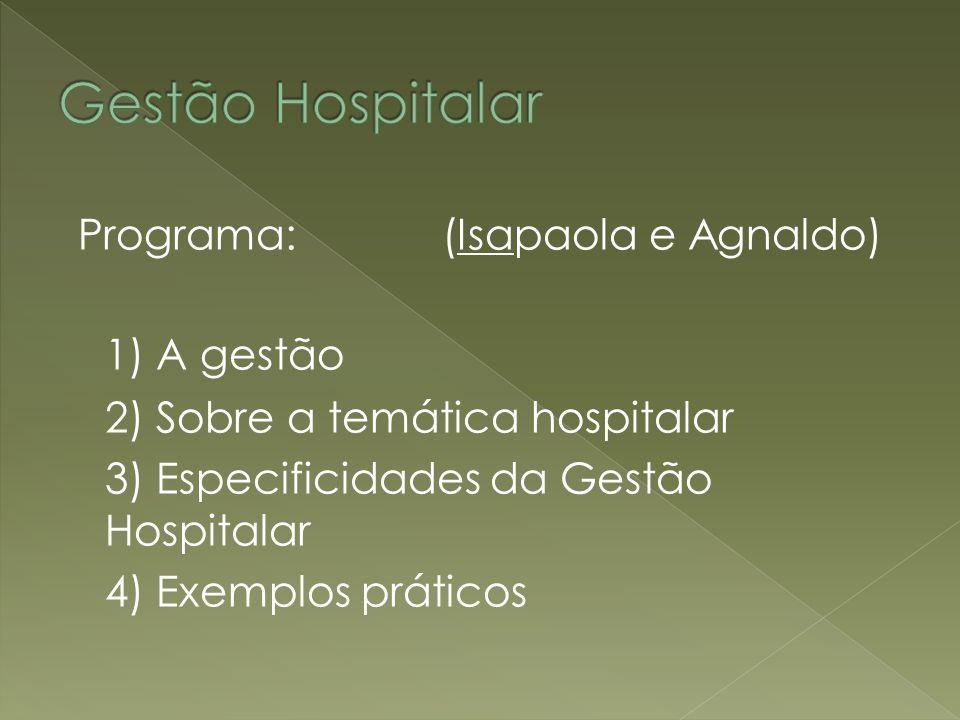 Gestão Hospitalar Programa: (Isapaola e Agnaldo) 1) A gestão