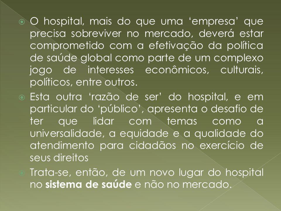 O hospital, mais do que uma 'empresa' que precisa sobreviver no mercado, deverá estar comprometido com a efetivação da política de saúde global como parte de um complexo jogo de interesses econômicos, culturais, políticos, entre outros.