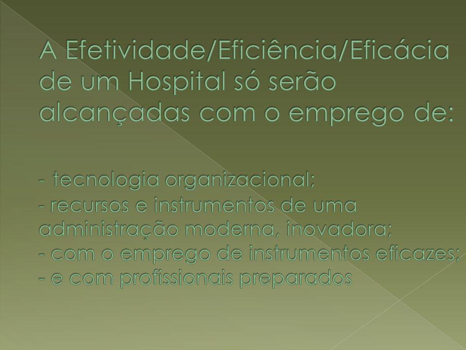 A Efetividade/Eficiência/Eficácia de um Hospital só serão alcançadas com o emprego de: - tecnologia organizacional; - recursos e instrumentos de uma administração moderna, inovadora; - com o emprego de instrumentos eficazes; - e com profissionais preparados