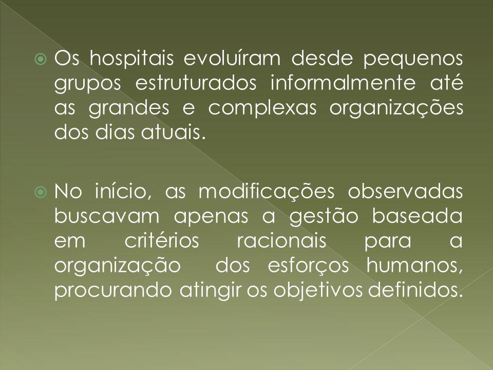 Os hospitais evoluíram desde pequenos grupos estruturados informalmente até as grandes e complexas organizações dos dias atuais.