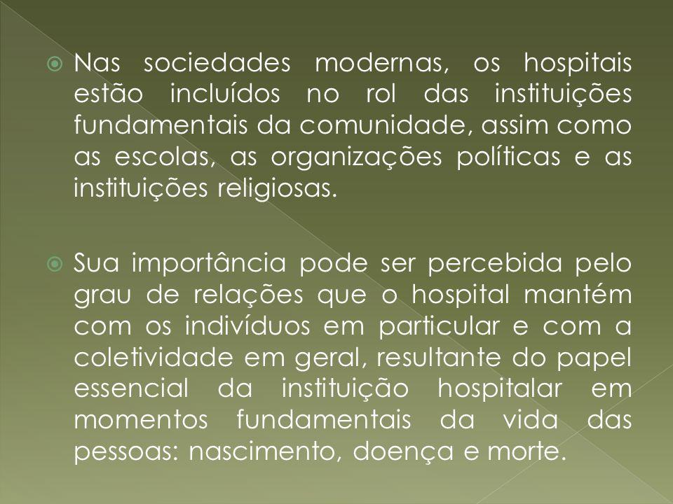 Nas sociedades modernas, os hospitais estão incluídos no rol das instituições fundamentais da comunidade, assim como as escolas, as organizações políticas e as instituições religiosas.