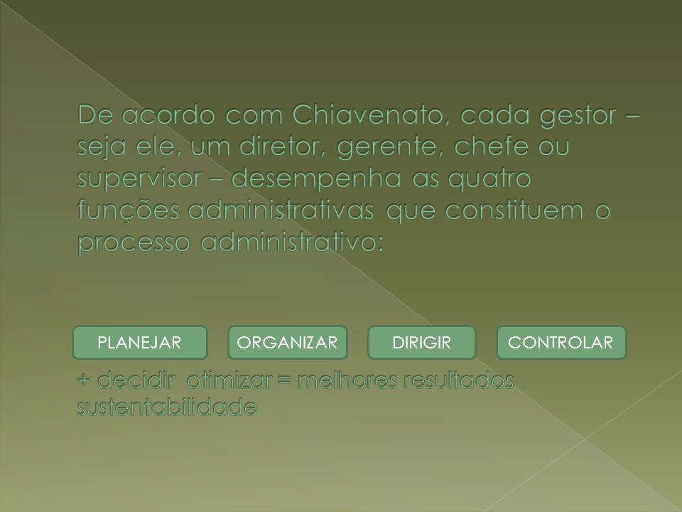 De acordo com Chiavenato, cada gestor – seja ele, um diretor, gerente, chefe ou supervisor – desempenha as quatro funções administrativas que constituem o processo administrativo: + decidir otimizar = melhores resultados sustentabilidade
