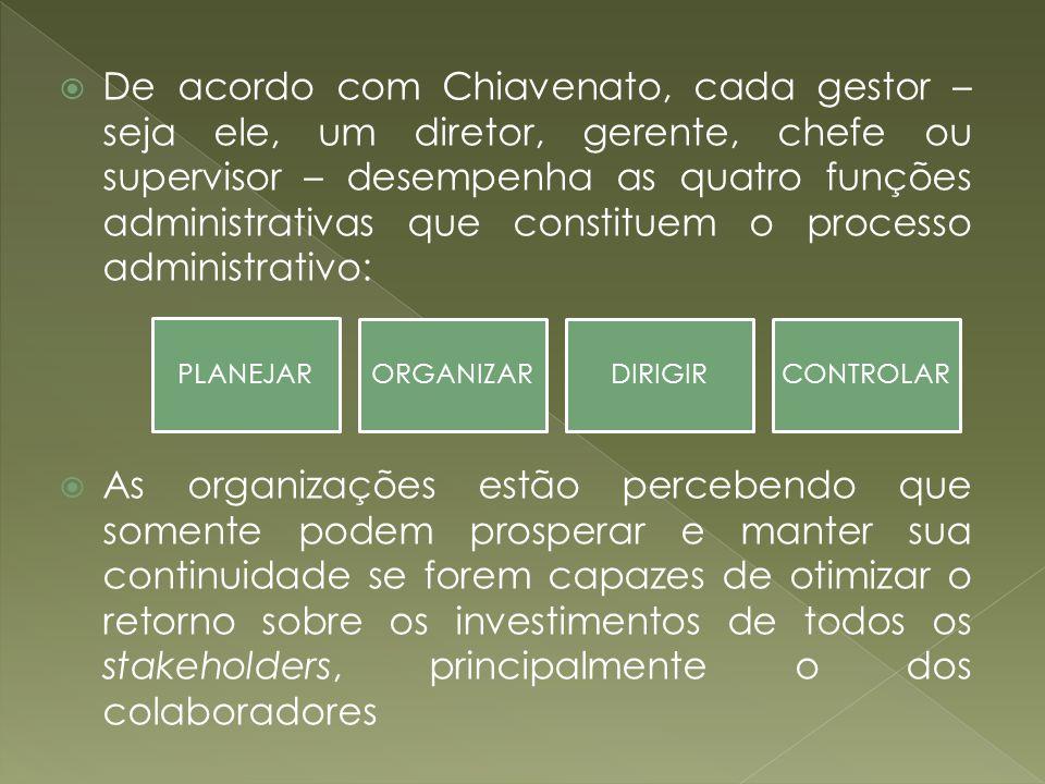 De acordo com Chiavenato, cada gestor – seja ele, um diretor, gerente, chefe ou supervisor – desempenha as quatro funções administrativas que constituem o processo administrativo: