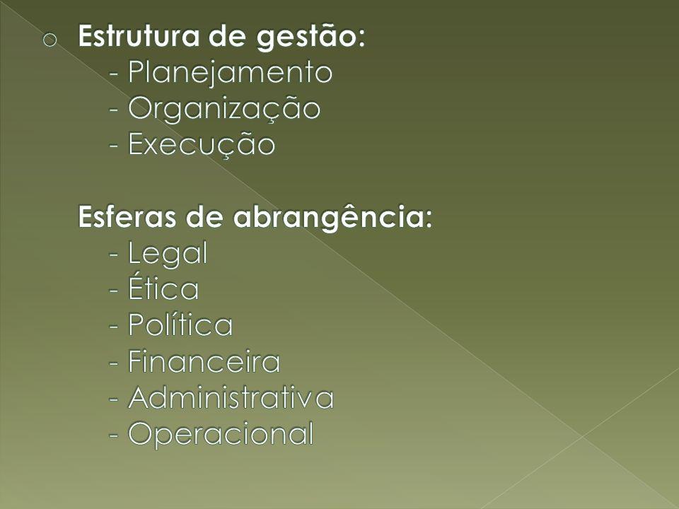 Estrutura de gestão:. - Planejamento. - Organização