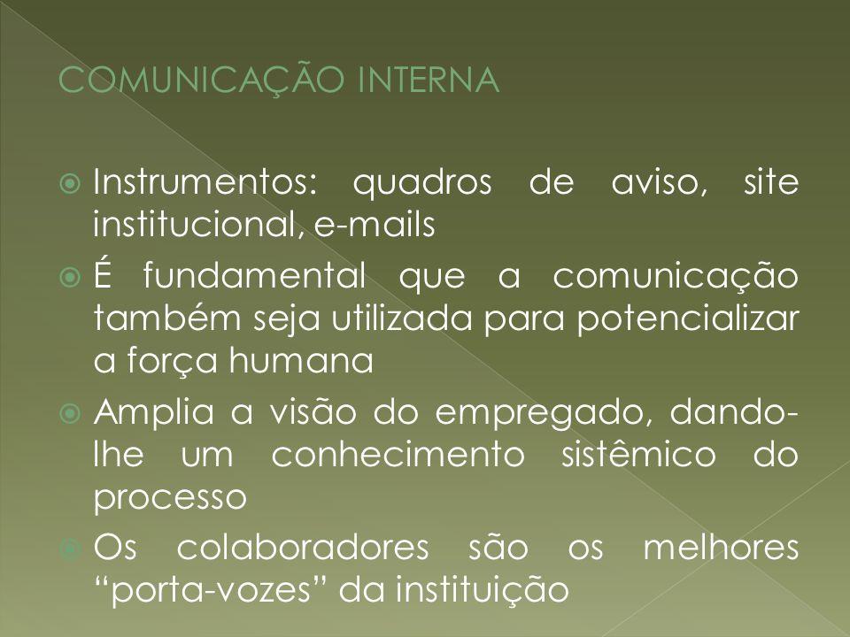 COMUNICAÇÃO INTERNAInstrumentos: quadros de aviso, site institucional, e-mails.