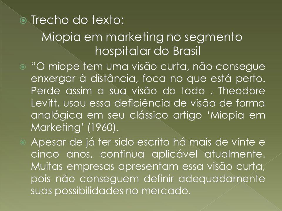 Miopia em marketing no segmento hospitalar do Brasil