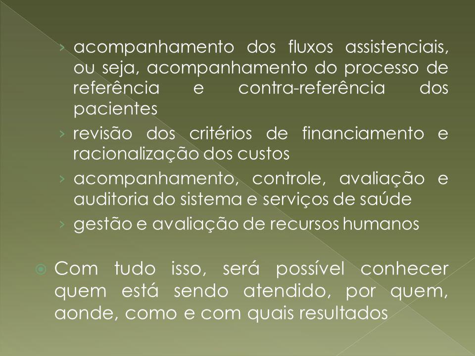 acompanhamento dos fluxos assistenciais, ou seja, acompanhamento do processo de referência e contra-referência dos pacientes