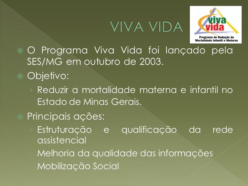 VIVA VIDA O Programa Viva Vida foi lançado pela SES/MG em outubro de 2003. Objetivo: