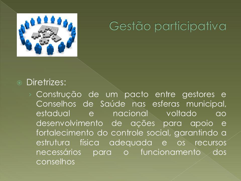 Gestão participativa Diretrizes: