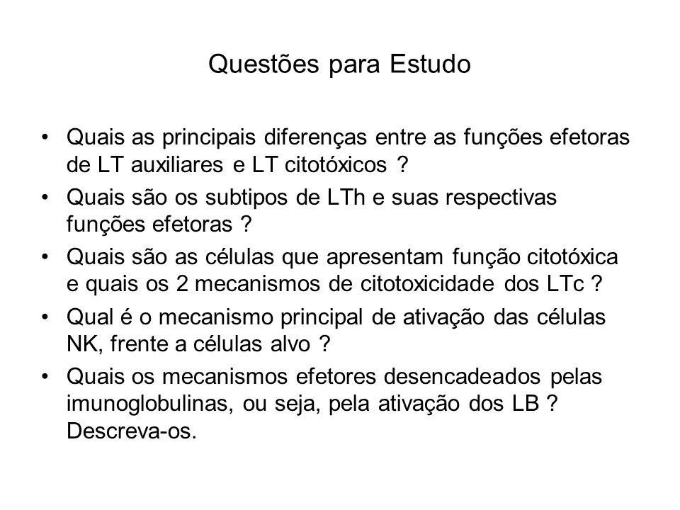 Questões para Estudo Quais as principais diferenças entre as funções efetoras de LT auxiliares e LT citotóxicos