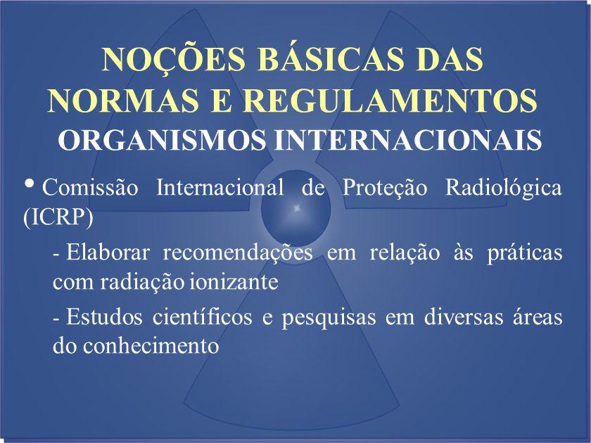 NOÇÕES BÁSICAS DAS NORMAS E REGULAMENTOS ORGANISMOS INTERNACIONAIS