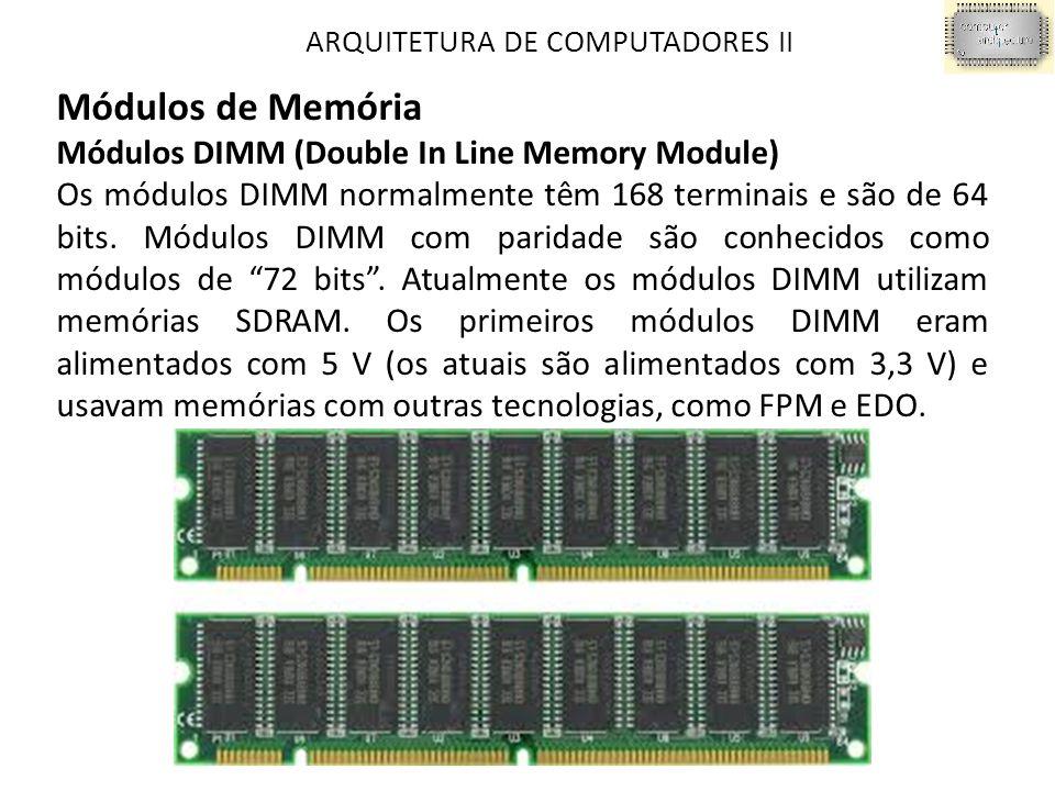 Módulos de Memória Módulos DIMM (Double In Line Memory Module)