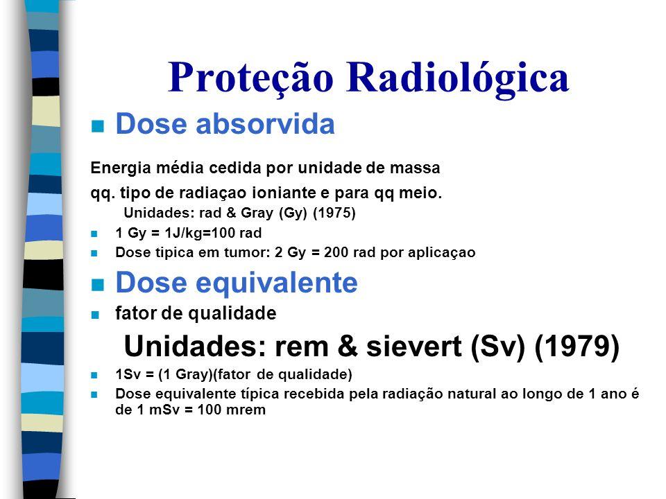 Proteção Radiológica Dose absorvida Dose equivalente