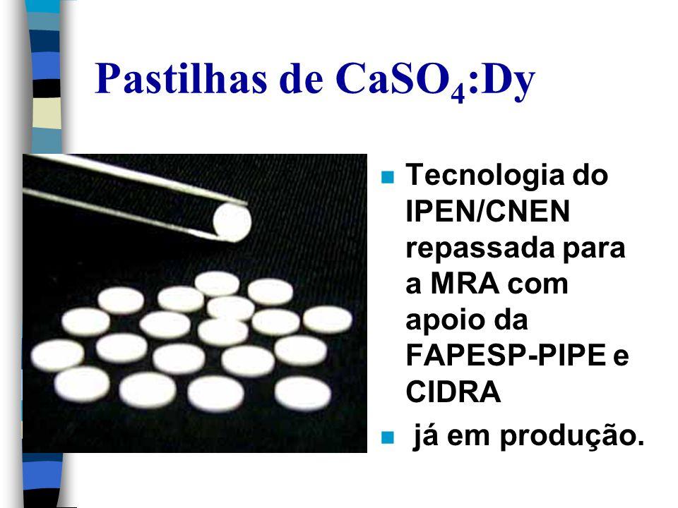Pastilhas de CaSO4:Dy Tecnologia do IPEN/CNEN repassada para a MRA com apoio da FAPESP-PIPE e CIDRA.