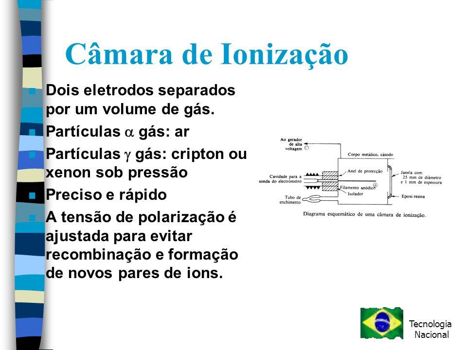 Câmara de Ionização Dois eletrodos separados por um volume de gás.