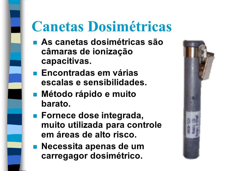 Canetas Dosimétricas As canetas dosimétricas são câmaras de ionização capacitivas. Encontradas em várias escalas e sensibilidades.