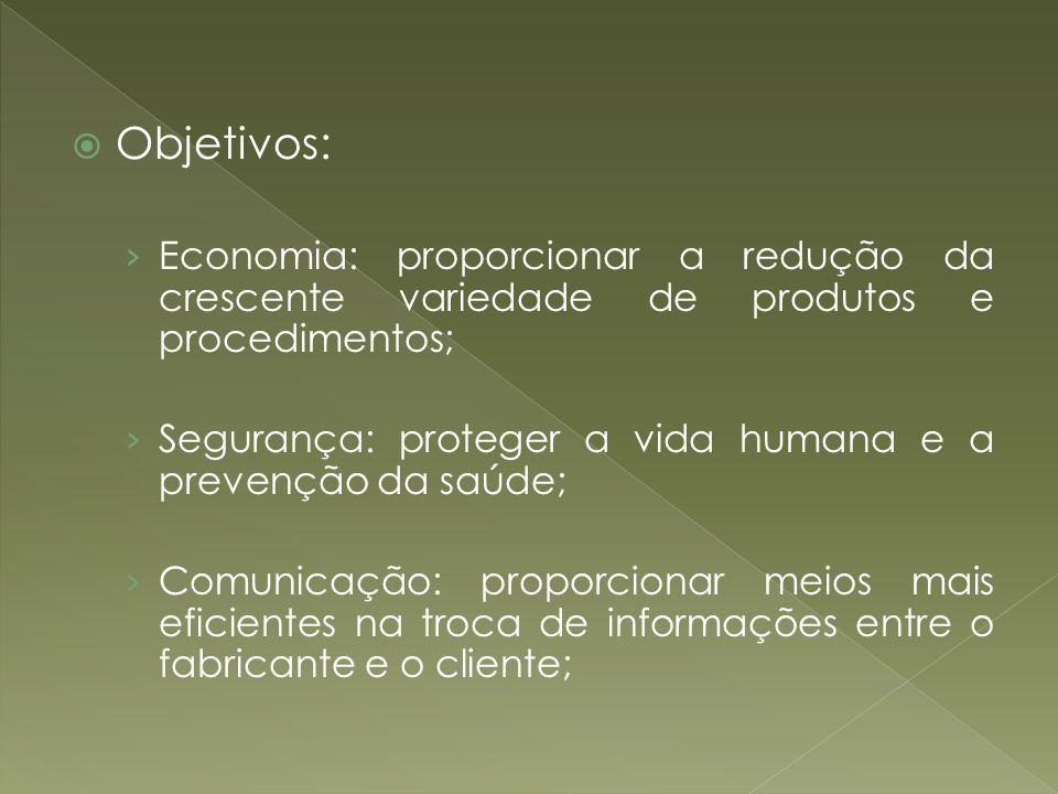 Objetivos: Economia: proporcionar a redução da crescente variedade de produtos e procedimentos;