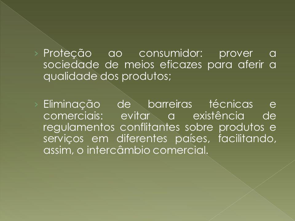Proteção ao consumidor: prover a sociedade de meios eficazes para aferir a qualidade dos produtos;
