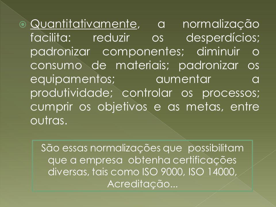 Quantitativamente, a normalização facilita: reduzir os desperdícios; padronizar componentes; diminuir o consumo de materiais; padronizar os equipamentos; aumentar a produtividade; controlar os processos; cumprir os objetivos e as metas, entre outras.