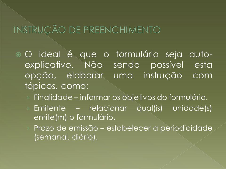 INSTRUÇÃO DE PREENCHIMENTO