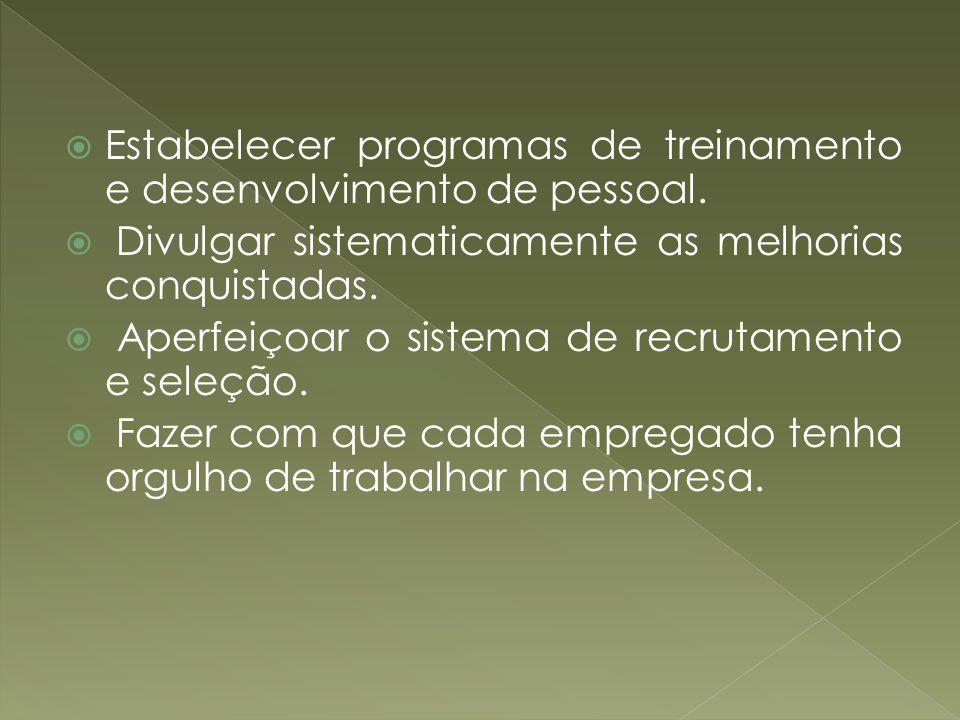 Estabelecer programas de treinamento e desenvolvimento de pessoal.
