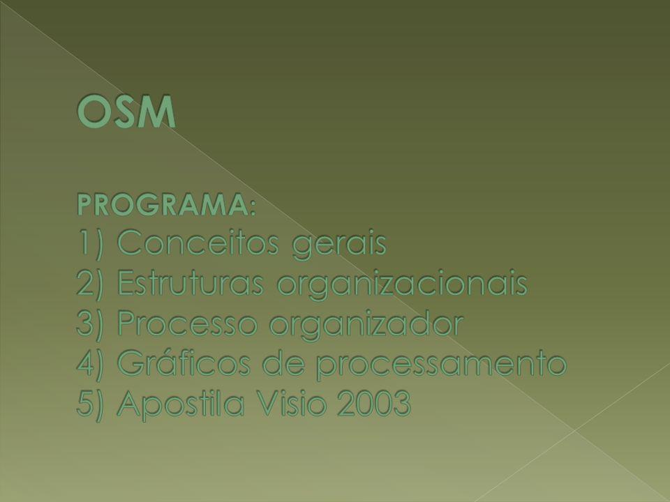 OSM PROGRAMA: 1) Conceitos gerais 2) Estruturas organizacionais 3) Processo organizador 4) Gráficos de processamento 5) Apostila Visio 2003