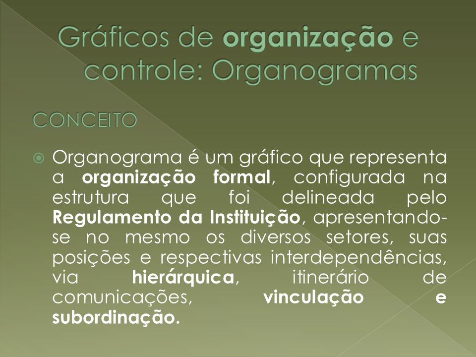 Gráficos de organização e controle: Organogramas