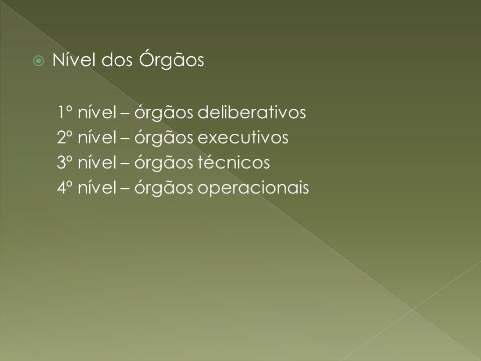 Nível dos Órgãos 1º nível – órgãos deliberativos