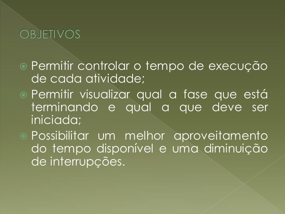 OBJETIVOS Permitir controlar o tempo de execução de cada atividade;