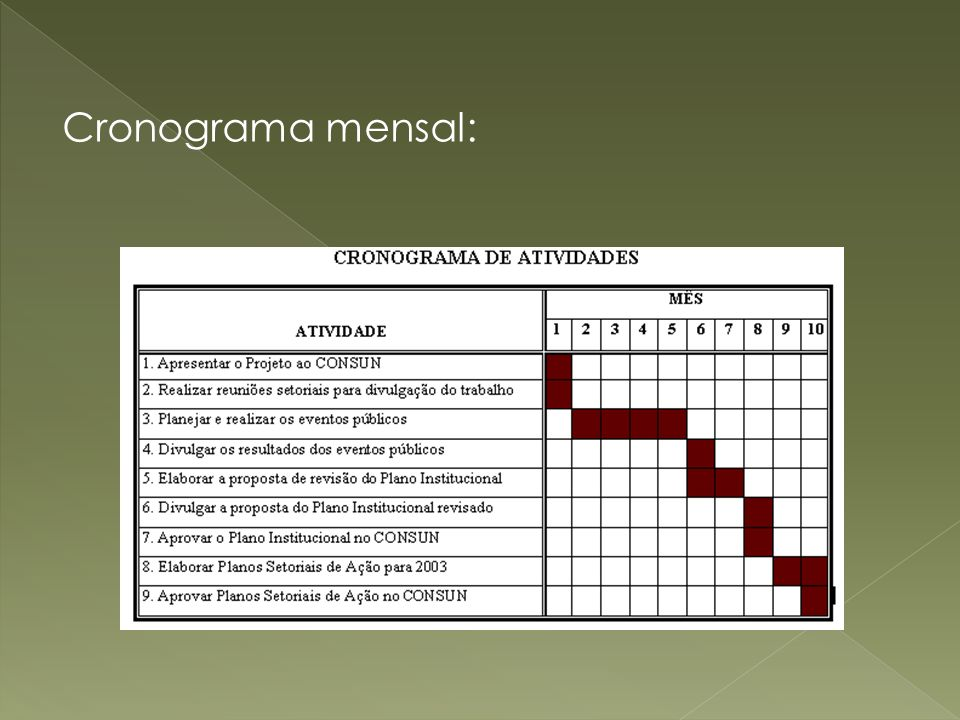 Cronograma mensal: