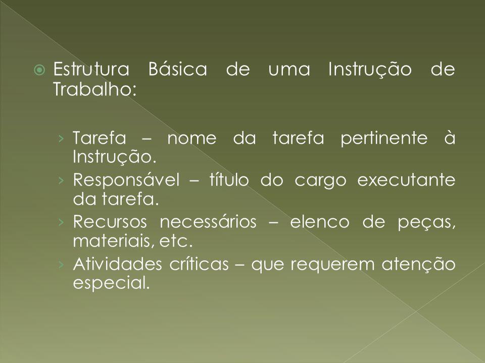 Estrutura Básica de uma Instrução de Trabalho: