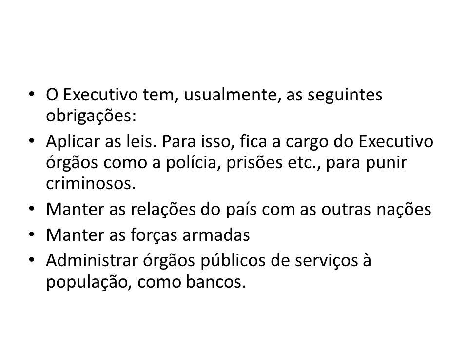 O Executivo tem, usualmente, as seguintes obrigações: