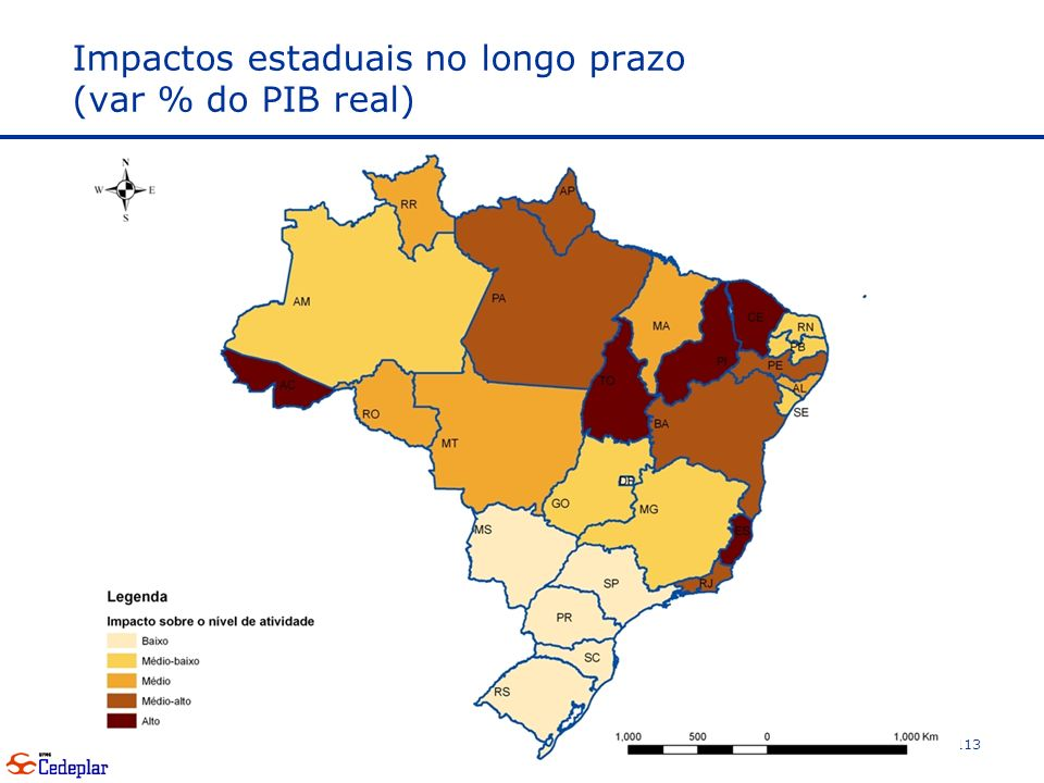 Impactos estaduais no longo prazo (var % do PIB real)