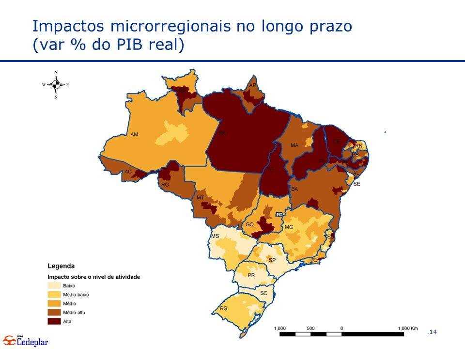 Impactos microrregionais no longo prazo (var % do PIB real)