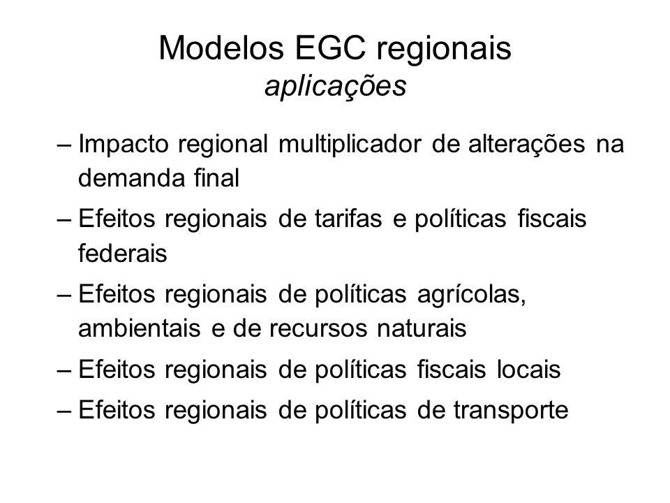 Modelos EGC regionais aplicações