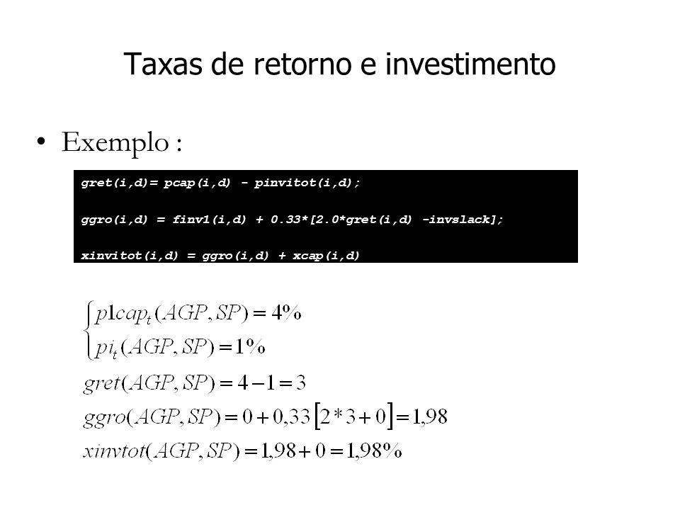 Taxas de retorno e investimento